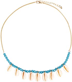Ultramall Fashion Women's Natural Shell Necklace Stone Beaded Necklace Jewelry