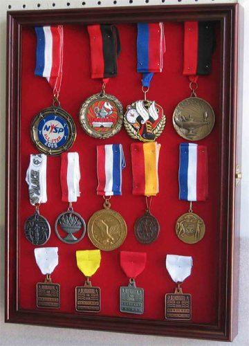 Military Medals, Pins, Patches, Insignia, Ribbons Flag Display Case Cabinet Glass Door, PC01(RED)-CH