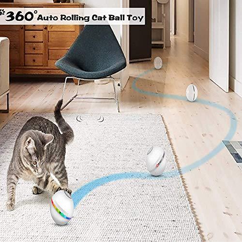 Yemetey 2021 Giocattolo Interattivo per Gatto Palle Gioco per Gatti, con Luci A LED, Ricaricabile USB Gatto Palla Automatica Palline Interattive Giocattolo, Rotazione Automatica 360 Gradi