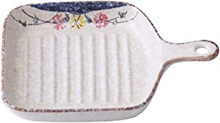 Bakeware Creative Baking Baked Rice Plate Household Bread Breakfast Pasta Plate 2 Pieces Japanese Style Handle Ceramic Pla...