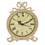 Funly mee Vintage Pewter Table Clock with Antique Golden Bow