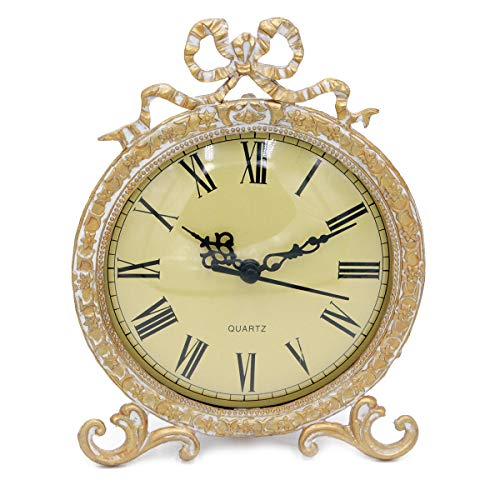 Funly mee - Reloj de Mesa de Peltre con Lazo Dorado Envejecido