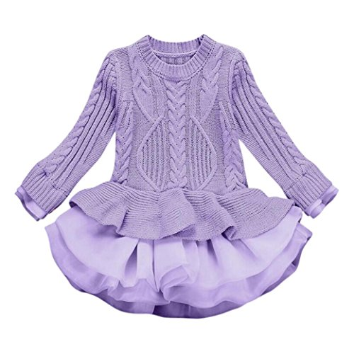 WuyiMC Little Girls' Tutu Dresses, Pullover Ruffle Sweater Long Sleeves Organza Stitching Knitting (2-3 Toddlers, Purple)
