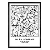 Nacnic Blatt Birmingham City Karte nordischen Stil schwarz