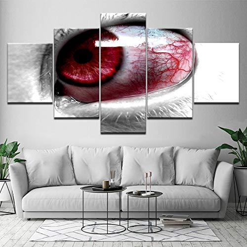 WMWSH Lienzo HD Imprime Fotos Decoración para El Hogar 5 Piezas Ojos Rojos Inyectados En Sangre Pinturas Mordern Carteles Salón Arte De La Pared,Cuadro En Lienzo HD Pintura Al Óleo