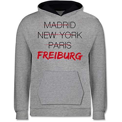 Städte & Länder Kind - Weltstadt Freiburg - 152 (12/13 Jahre) - Grau meliert/Navy Blau - Heimat - JH003K - Kinder Kontrast Hoodie