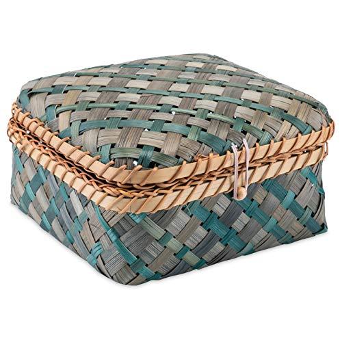 Decorasian Kiste geflochten aus Bambus - dekorative Truhe mit Deckel blau grün Größe M