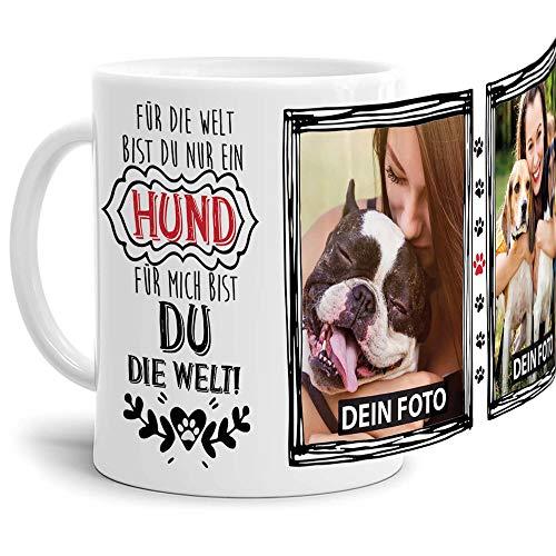 Tassendruck Fototasse mit Spruch - Mein Hund, Meine Welt - personalisiert mit 2 WUNSCHFOTOS - Geschenk für Hundebesitzer, Herrchen oder Frauchen - Weiß