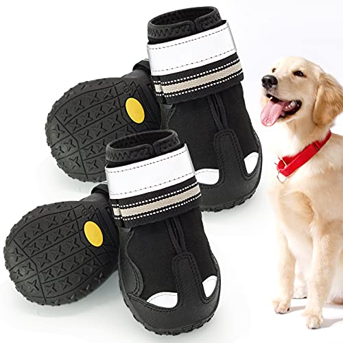 """Dog Boots, Waterproof Shoes for Dog,Dog Booties with Reflective Rugged Anti-Slip Sole,Outdoor Dog Boots,Dog Boots for Medium to Large Dogs,Rain Boots for Dog 4pcs (Size 5:2.7""""x2.2"""" (LW))"""
