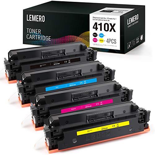 LEMERO 4 Pack Ersatz für HP CF410X CF411X CF412X CF413X CF410A Toner 410A 410X Toner für HP Color Laserjet Pro MFP M477FDW M477FDN M477FNW M452DN M452DW M452NW M377DW
