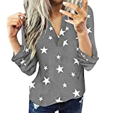 N\P Blusa casual de algodón de manga larga estrella chaqueta delgada de las mujeres