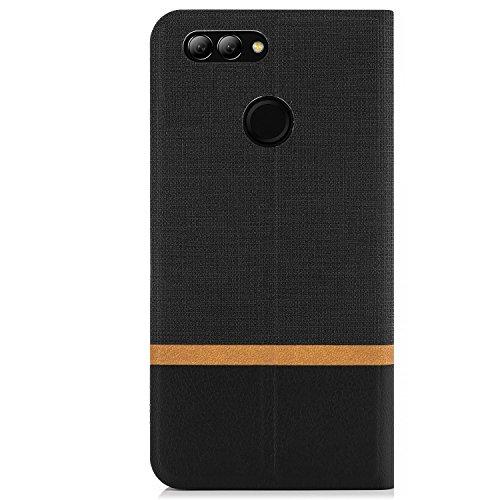 zanasta Tasche kompatibel mit Huawei Nova 2 Plus Hülle Flip Case Schutzhülle Handytasche mit Kartenfach Schwarz - 5