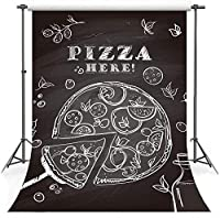 ZPCフェスティバルの背景5x7ft漫画のピザの写真撮影の背景テーマパーティーバナー小道具綿布LHFS743