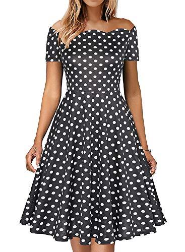 Fantaist Off The Shoulder Dress,Scalloped A Line Dresses for Women Casual Summer Knee Length (M, FT655-Black Dot)