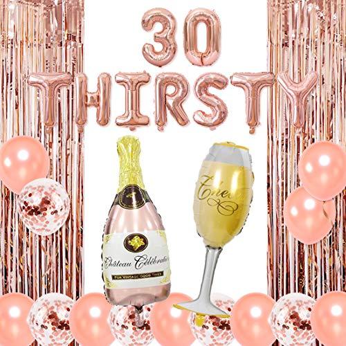 Jollyboom Soif 30 décorations de fête en Or Rose Trente décorations de fête pour Son 30e Anniversaire fête Champagne gobelet Bouteille Ballons