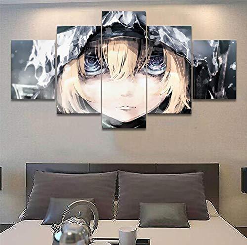 5 pinturas de arte de parede em tela emoldurada, quadros de pôster de arte de parede 5 peças Anime Youjo Senki Tanya Degurechaff Pintura decoração de casa obrazy plakat DDZZYY