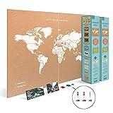 Miss Wood Map Mapa del Mundo de Corcho, Blanco, XXL (120x90cm), 2 Unidades