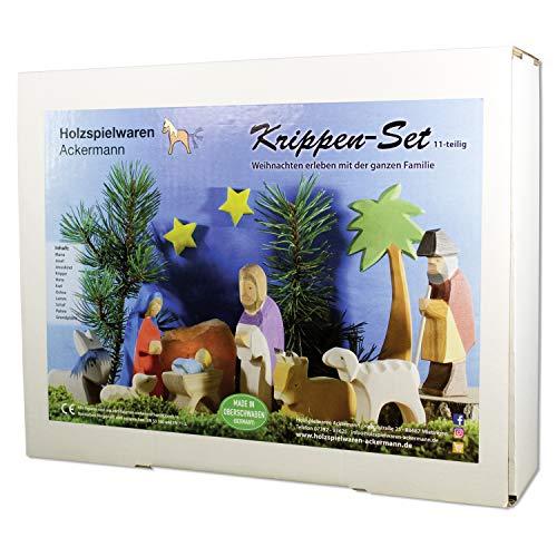 Weihnachtskrippen-Set aus Holz – 11 Krippenfiguren, aus Schwäbischer Handarbeit (100% ökologisch)
