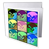 3dRose Lens Art by Florene - Elvis - Image of Collage of Nine Faces of Elvis in Cartoon Colors - 1 Greeting Card with Envelope (gc_304487_5)