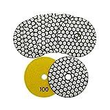 SHDIATOOL Diamante Almohadilla de Pulido 7 Piezas Grano 100 para Pulir en Seco Mármol Granito Piedra Cerámica Dia 100mm/4 Pulgadas