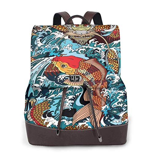 Yuanmeiju Womens Backpack Purse Golden Dragon and Carp Shoulder Bookbag Leather Travel Bag Ladies