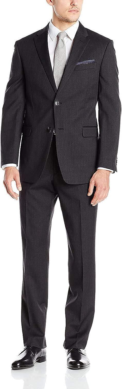 Tommy Hilfiger Men's Charcoal Twill Slim Fit Suit