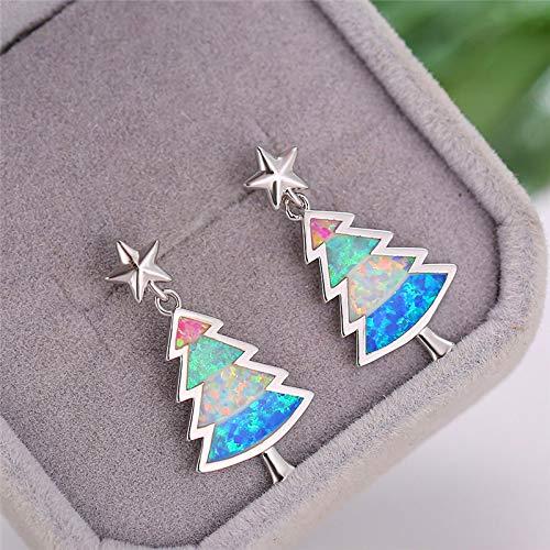 AdronQ Ohrringe Ohrstecker Ohrhänger 925 Silber Boho Weiß Blau Feuer Opal Ohrringe Damen Weihnachtsbaum Ohrringe