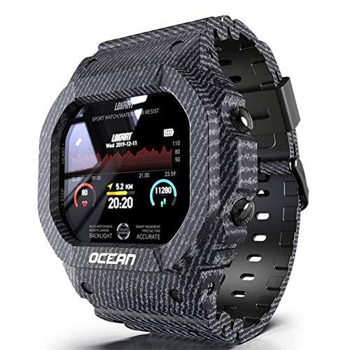 Reloj deportivo digital para hombre, 50 m, impermeable, clásico, cuadrado, multifunción, frecuencia cardíaca, monitor de sueño, contador de pasos, calorías, reloj Bluetooth inteligente unisex