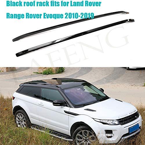 LAFENG Baca negra para techo 2010-2019 Land Rover Range Rover Evoque 2 piezas de aleación de aluminio portaequipajes portaequipajes portaequipajes rieles de techo