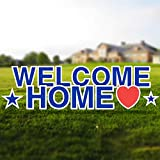 Vispronet Welcome Home Blue Yard Signs with Stakes – Each Letter is 18in Tall – Includes Bonus Stars and Large Heart – Weather-Resistant Signs and Steel Stakes