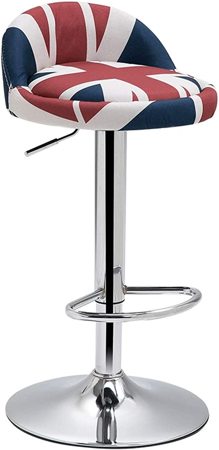 Swivel Chair Simple Bar Lift High Stool redary Swivel Chair Cotton and Linen Home Wrought Iron Bar Stool (color   A1)
