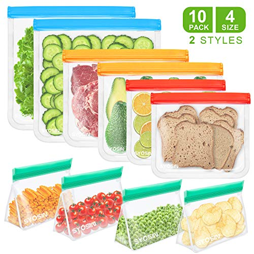 Reusable Food Storage Bags -10 Pack BAP FREE Freezer Bags(4 Upgrade Stand Up Snack Bags+ 2 Gallon Bags+ 2 Vegetable Bags+ 2 Sandwich Bags), Ziplock Leakproof Lunch Bags for Marinate Food, Fruit Cereal