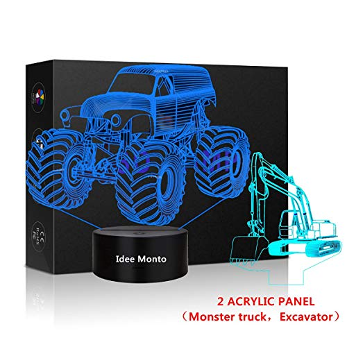 3D LED Tractor Nightlight Excavator Sleeps Illusion Touch Lamp Night Light Dimmable 7 Colors Excavator Light Kids Monster Truck Decor for Christmas Kids' Room Living Room Bedroom Gift