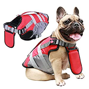 iChoue Dog Life Jackets Saver Swimming Vest Floating Plate for Small French Bulldog Pug Puppy (Red, S)