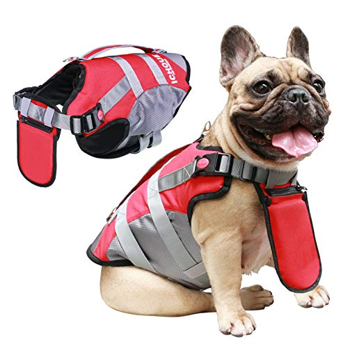 iChoue Dog Life Jackets Saver Swimming Vest Floating Plate for Medium French Bulldog Pug (Red, M)