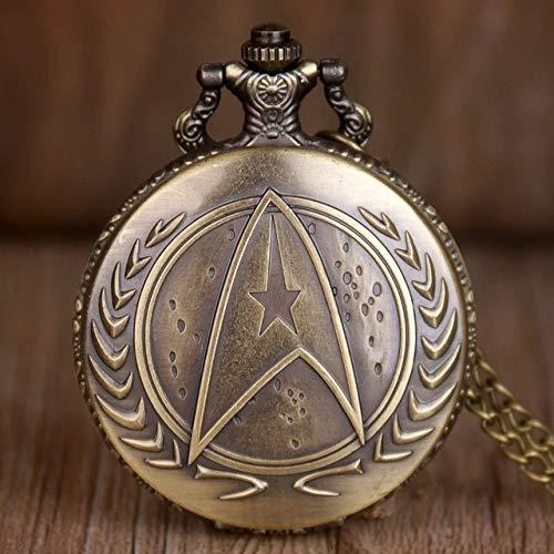 FFHJHJ Taschenuhr Retro Star Wars Hohlquarz Taschenuhr Halskette VintageAnhänger Uhr Mit Kette Marvel Film Männer Kindergeschenk, Star Trek