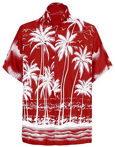 LA LEELA | Funky Camicia Hawaiana da Uomo | XS - 7XL | Maniche Corte | Tasca Frontale | Stampa Hawaiana | Estivo Estate Spiaggia Palme Rosso_W458 XL - Torace (in CMS) : 121-132
