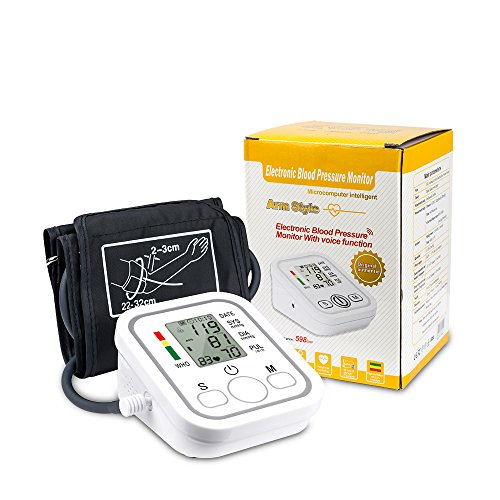 Senweit Oberarm Blutdruckmessgerät, Gesunde Pulsfrequenzmessung, Elektrisches Blutdruckmessgerät, Sphygmomanometer, LCD-Digitalanzeige, Verstellbare Große Manschetten