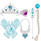 ♔Package includes silver Tiara/Crown and Wand/Scpter with blue artificial gem, a pair of Gloves with bow tie,Necklace,Princess Wig,Ring and pearl decoration ♔Perfect for all birthday party,Christmas,dress up party and cosplay games ♔Perfect match for...