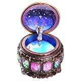 DELIWAY Mechanism Rotate Music Box with 12 Constellations and Sankyo 18-Note Wind Up Signs of The Zodiac Gift for Birthday Christmas (Upgraded,Always with Me)