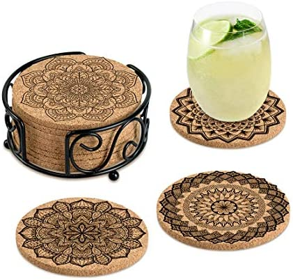 Coasters for Drinks Absorbent Cork Coasters with Holder Housewarming Gifts for New Home Present product image
