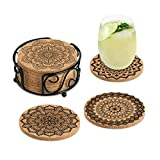 Coasters for Drinks Absorbent Cork Coasters with...