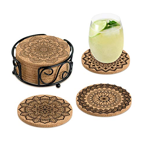 Coasters for Drinks Absorbent Cork Coasters with Holder Housewarming Gifts for New Home Present for Friends,Living Room Decor,Apartment Decor