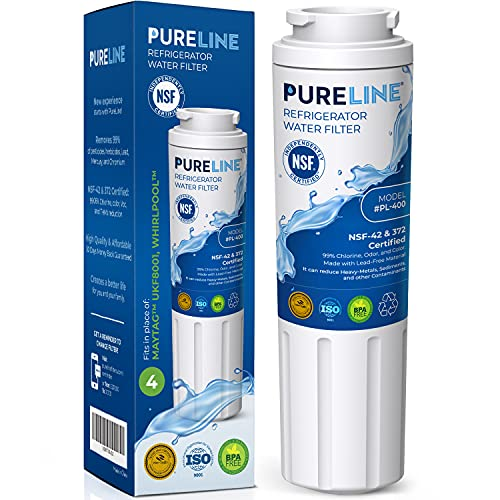 Pureline UKF8001 Water Filter Replacement for Everydrop Filter 4, EDR4RXD1, Maytag UKF8001, UKF8001AXX-750, UKF8001AXX-200, Whirlpool 4396395, WRX735SDHZ00, Kenmore 9084, Puriclean II, Viking RWFFR and Many More Models.