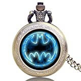 Exquisite Appearance: Glass dome of pocket watch with Batman movie theme design. Movement: Precision quartz movement pocket watch, provide precise and accurate time keeping 100% brand new with excellent workmanship pocket watch for men, For safety, t...