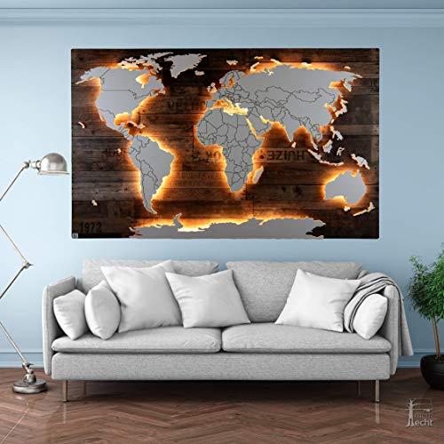 Beleuchtete Holz Weltkarte