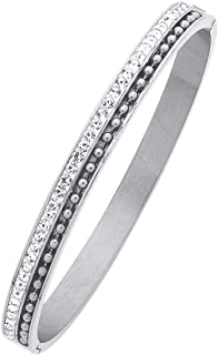 Bevilles Stainless Steel Ball & Crystal Row Bangle