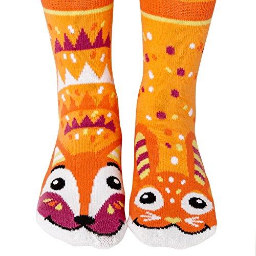 Fox & Bunny Woodland Animal Pals Mismatched Fun Modern Geometric Socks for Kids Boys Girls with Nonskid No Slip Grips (Age 4-8)
