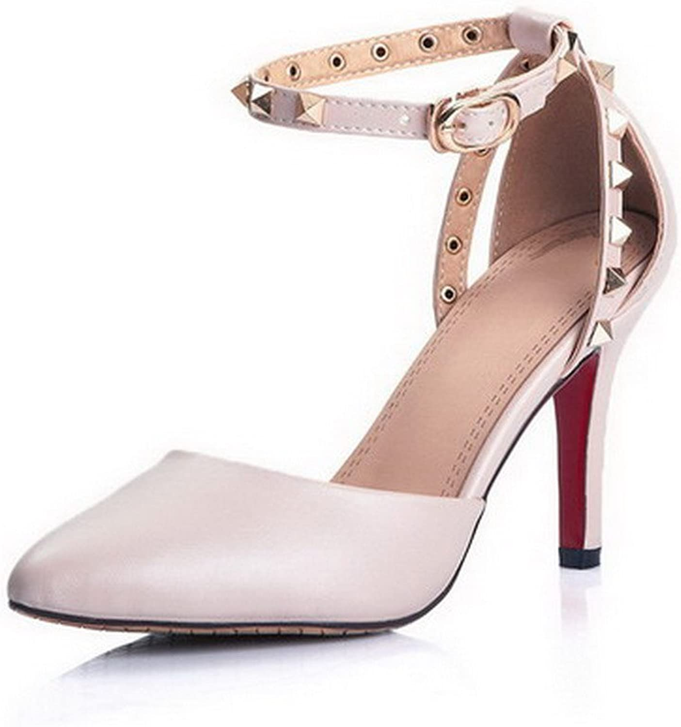 WeenFashion Women's Pointed Closed Toe Spikes Stilettos Soft Material Solid Buckle Pumps shoes