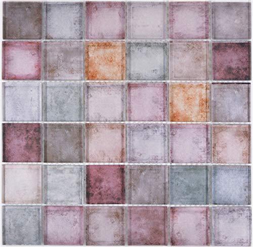 Mosaik Fliese Glas rotbraun multicolor mix für WAND BAD WC DUSCHE KÜCHE FLIESENSPIEGEL THEKENVERKLEIDUNG BADEWANNENVERKLEIDUNG